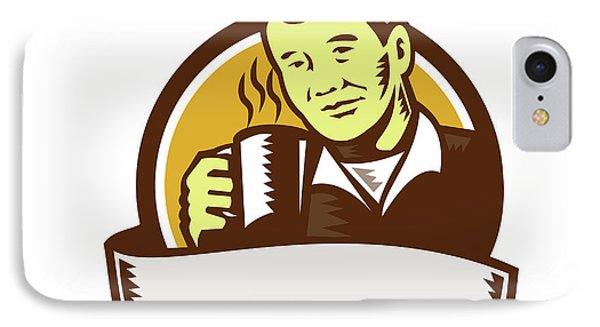 Asian Man Drinking Coffee Circle Woodcut IPhone Case