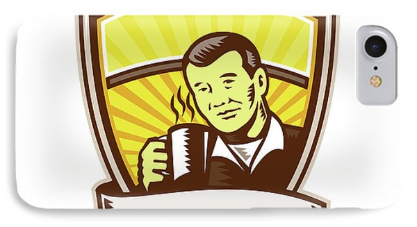 Asian Man Drinking Coffee Crest Woodcut IPhone Case