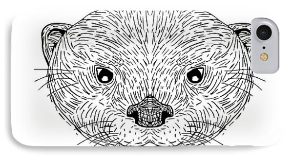 Asian Small-clawed Otter Head Drawing IPhone Case