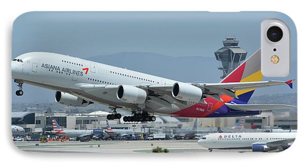 IPhone Case featuring the photograph Asiana Airbus A380-800 Hl7626 Los Angeles International Airport May 3 2016 by Brian Lockett
