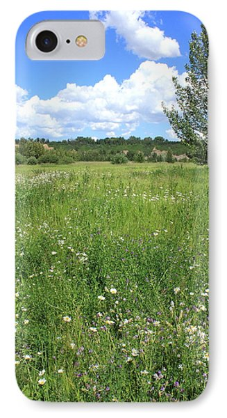 Aspen Tree In Meadow With Wild Flowers Phone Case by Jim Sauchyn