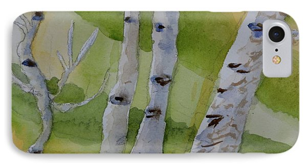 IPhone Case featuring the painting Aspen Trunks by Beverley Harper Tinsley