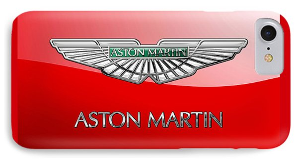 Aston Martin - 3 D Badge On Red IPhone Case by Serge Averbukh
