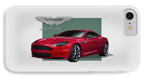 Aston Martin  D B S  V 12  With 3 D Badge  Phone Case by Serge Averbukh