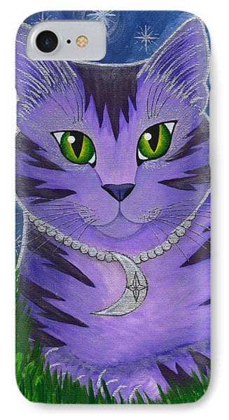 Astra Celestial Moon Cat IPhone Case by Carrie Hawks