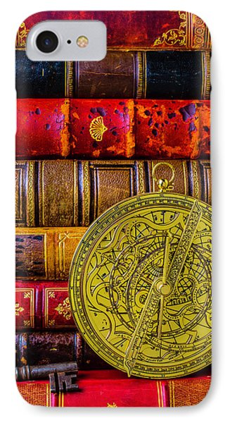 Astrolabe And Old Books IPhone Case by Garry Gay