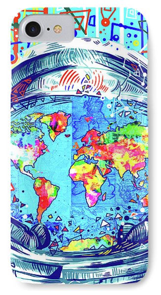 Astronaut World Map 2 IPhone Case