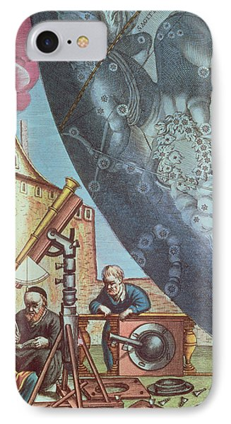 Astronomers Looking Through A Telescope IPhone Case by Andreas Cellarius