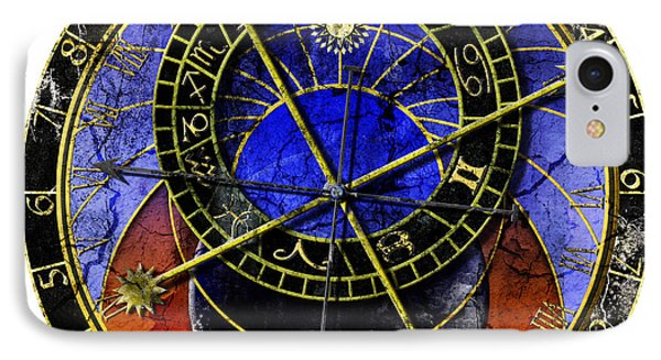Astronomical Clock In Grunge Style Phone Case by Michal Boubin