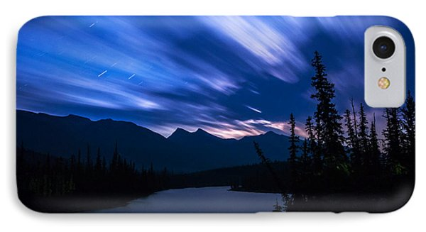 Athabasca River Moonrise Long Exposure IPhone Case