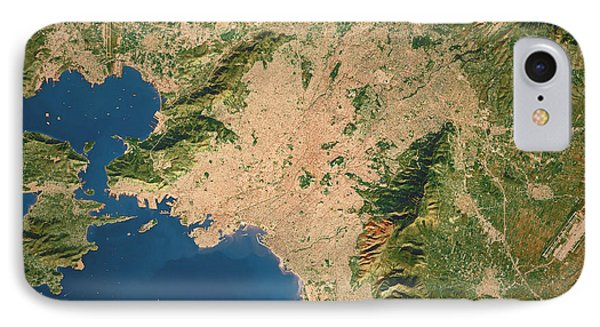 Athens City Topographic Map Natural Color IPhone Case by Frank Ramspott