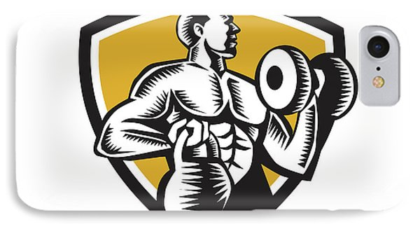 Athlete Lifting Kettlebell Dumbbell Crest Woodcut IPhone Case by Aloysius Patrimonio