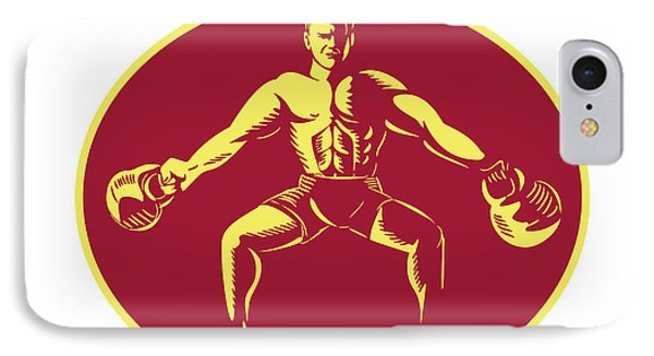 Athlete Lifting Kettlebell Oval Woodcut IPhone Case by Aloysius Patrimonio