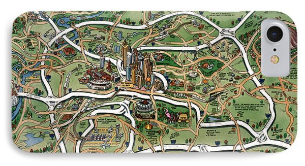 IPhone Case featuring the painting Atlanta Cartoon Map by Kevin Middleton