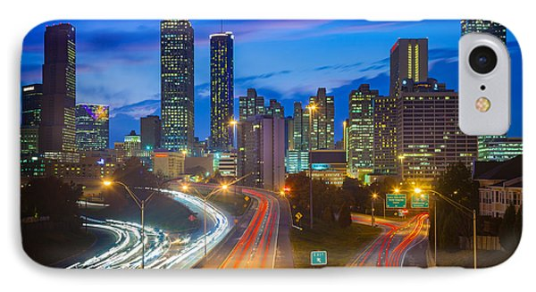 Atlanta Downtown By Night Phone Case by Inge Johnsson