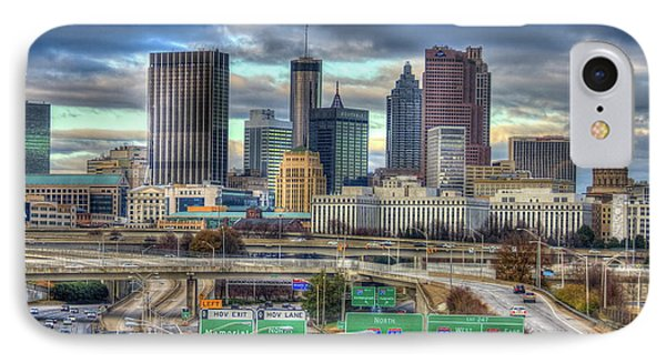 IPhone Case featuring the photograph Atlanta Moving On Skyline Cityscape Art by Reid Callaway