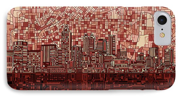 Atlanta Skyline Abstract Deep Red IPhone Case