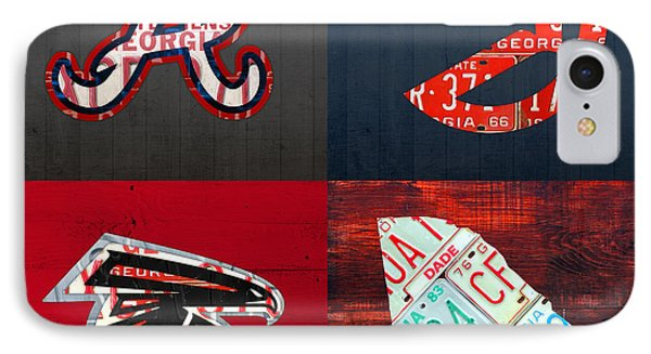 Atlanta Sports Fan Recycled Vintage Georgia License Plate Art Braves Hawks Falcons Plus State Map IPhone 7 Case