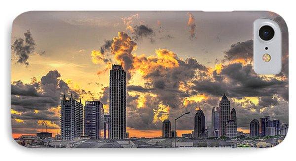 Atlanta Sunrise On Atlantic Station Commons And Midtown Atlanta Phone Case by Reid Callaway