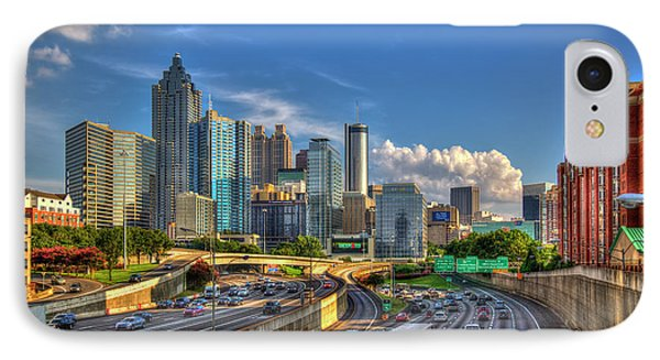 IPhone Case featuring the photograph Atlanta The Capital Of The South Cityscapes Sunset Reflections Art by Reid Callaway