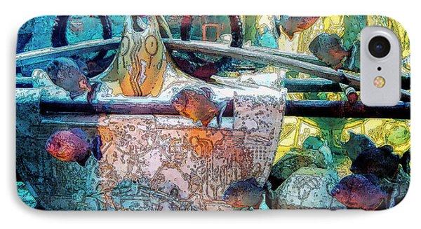Atlantis Aquarium In Watercolor Phone Case by DigiArt Diaries by Vicky B Fuller