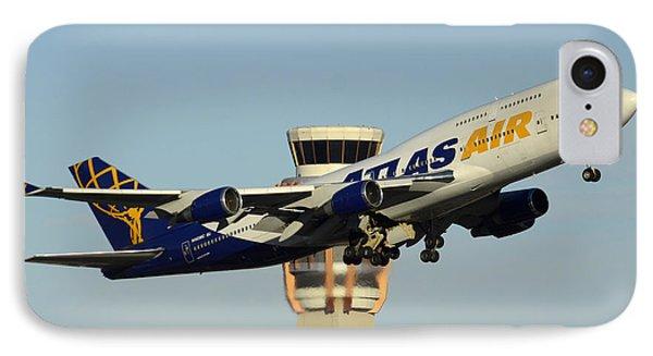 Atlas Boeing 747-446 N465mc Phoenix Sky Harbor January 3 2015 Phone Case by Brian Lockett