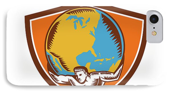 Atlas Carrying Globe Crest Woodcut IPhone Case