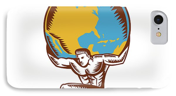 Atlas Lifting Globe Kneeling Woodcut IPhone Case