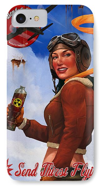 IPhone Case featuring the digital art Atom Bomb Cola Send Thirst Flying by Steve Goad