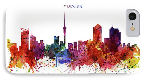 Auckland Watercolor Skyline IPhone Case