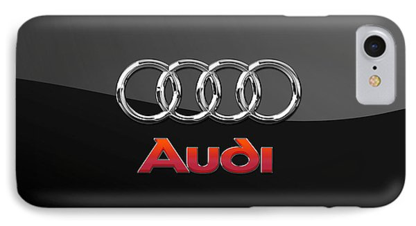 Audi 3 D Badge On Black Phone Case by Serge Averbukh