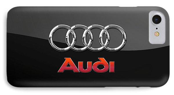 Audi 3 D Badge On Black Phone Case by Serge Averbukh