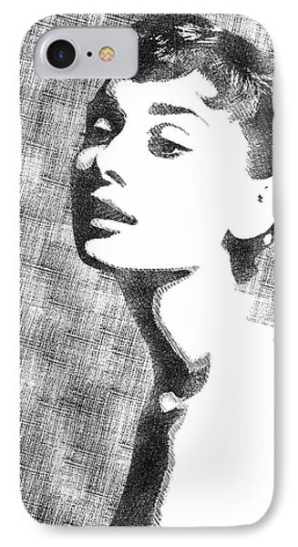 Audrey Hepburn Bw Portrait IPhone Case by Mihaela Pater