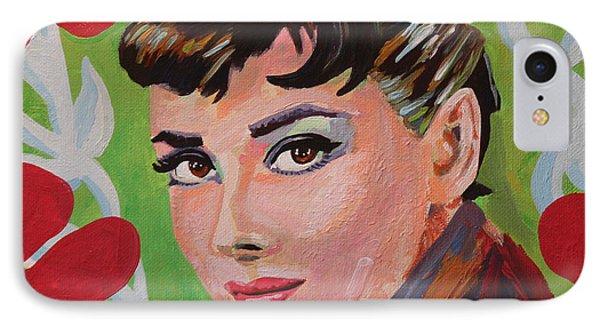 Audrey Hepburn Portrait IPhone Case by Robert Yaeger