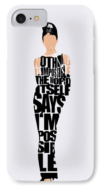 Audrey Hepburn Typography Poster IPhone 7 Case