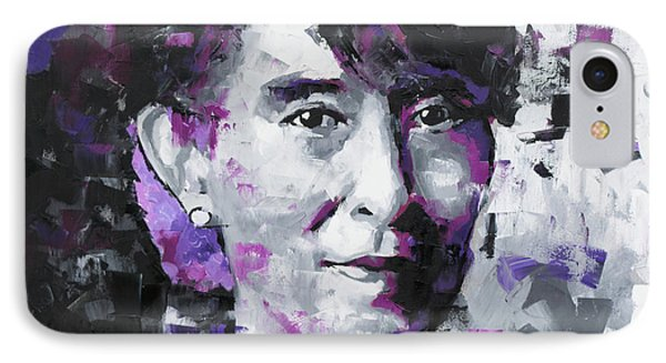 IPhone Case featuring the painting Aung San Suu Kyi by Richard Day