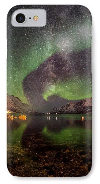 Aurora Borealis Along With Milky Way IPhone Case by Asar Studios
