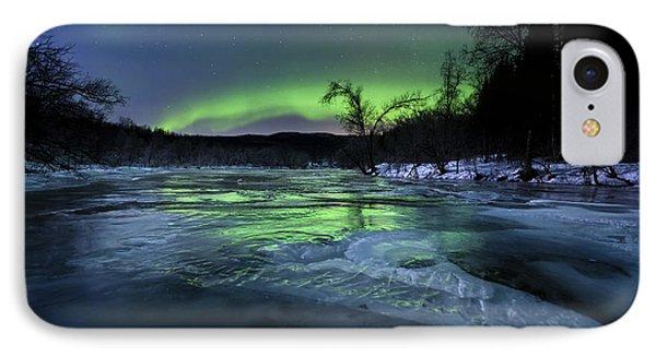 Aurora Borealis Over A Frozen Kvannelva IPhone Case