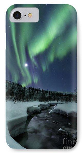 Aurora Borealis Over Blafjellelva River IPhone Case