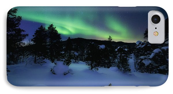 Aurora Borealis Over Forramarka Woods IPhone Case