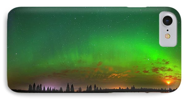 IPhone Case featuring the photograph Aurora Over Pond Panorama by Dan Jurak