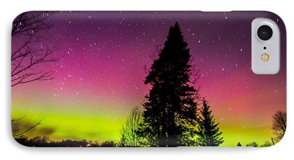 Aurora With Spruce Tree IPhone Case by Tim Kirchoff