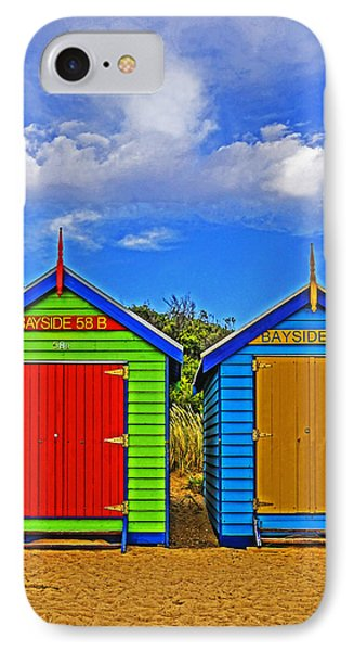 Aussie Beach Boxes Phone Case by Dennis Cox WorldViews