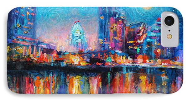 Austin Art Impressionistic Skyline Painting #2 IPhone Case by Svetlana Novikova