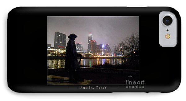Austin Hike And Bike Trail - Iconic Austin Statue Stevie Ray Vaughn - One Greeting Card Poster IPhone Case by Felipe Adan Lerma