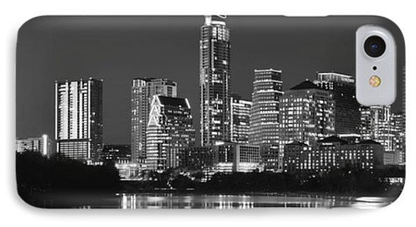 Austin Skyline At Night Black And White Bw Panorama Texas IPhone Case by Jon Holiday