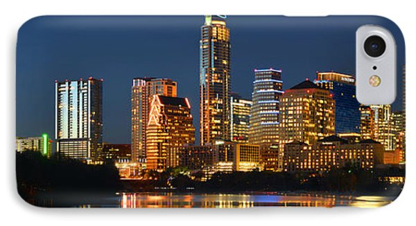 Austin Skyline At Night Color Panorama Texas IPhone 7 Case by Jon Holiday