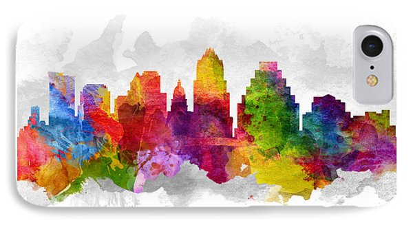Austin Texas Cityscape 13 IPhone Case by Aged Pixel