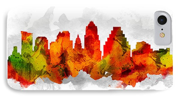 Austin Texas Cityscape 15 IPhone Case by Aged Pixel