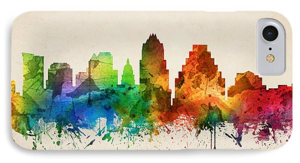 Austin Texas Skyline 05 IPhone Case by Aged Pixel